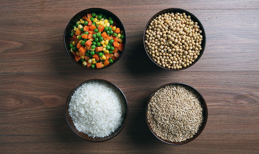 Whole grains and vegetables
